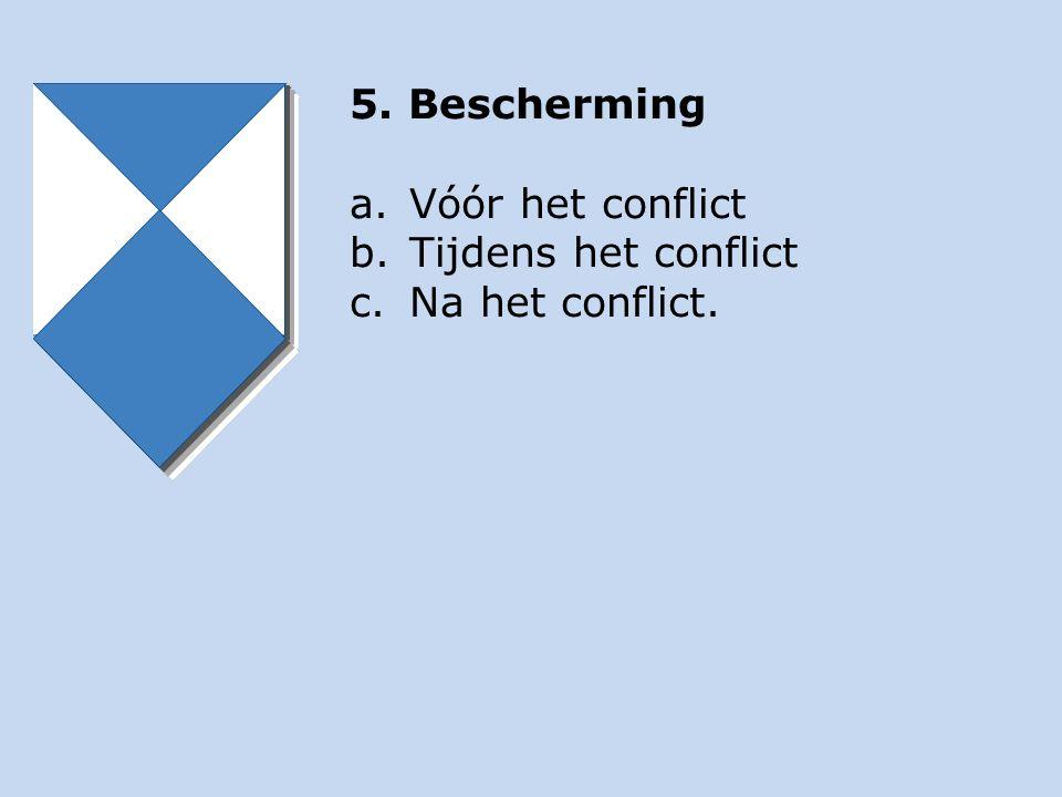 5. Bescherming a.Vóór het conflict b.Tijdens het conflict c.Na het conflict.