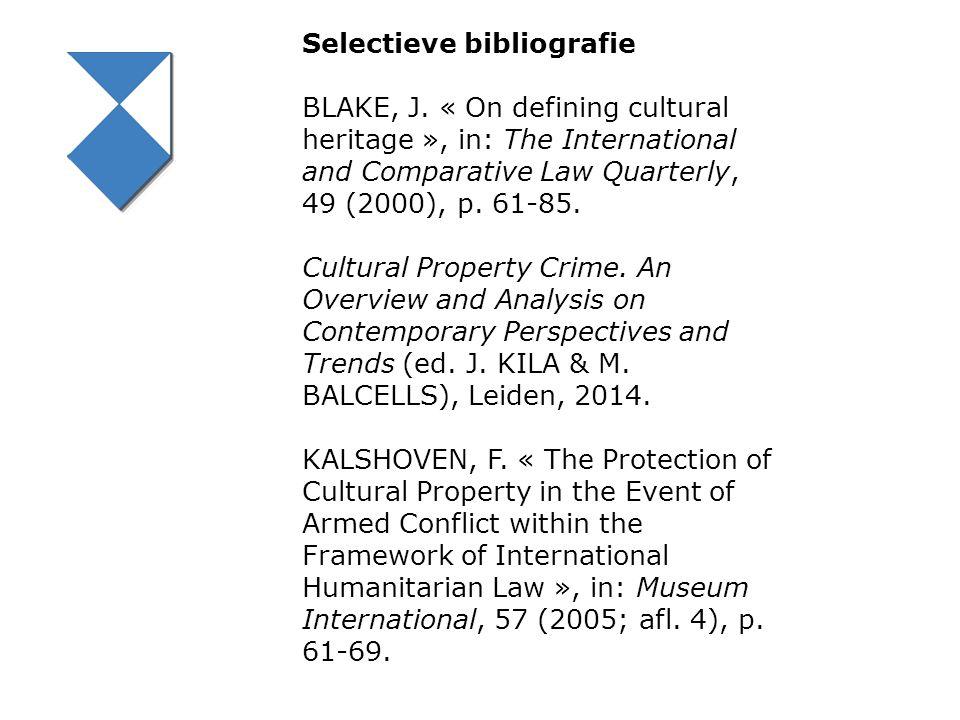 Selectieve bibliografie BLAKE, J.