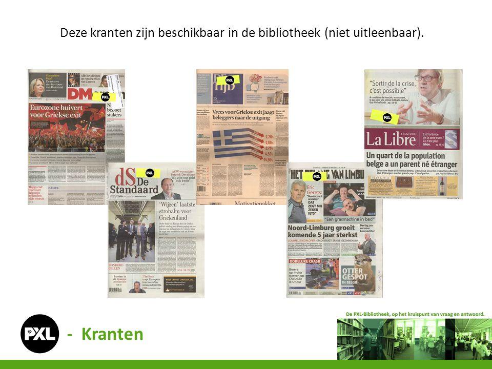 - Kranten Deze kranten zijn beschikbaar in de bibliotheek (niet uitleenbaar).