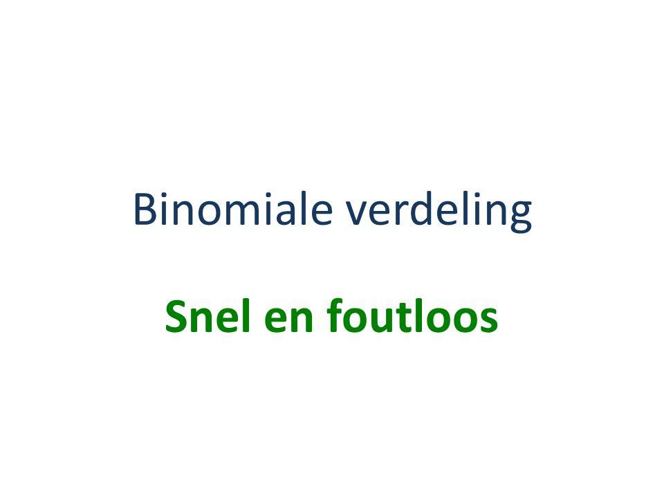 Binomiale verdeling Snel en foutloos