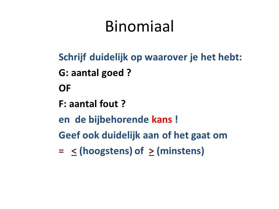Binomiaal Schrijf duidelijk op waarover je het hebt: G: aantal goed .