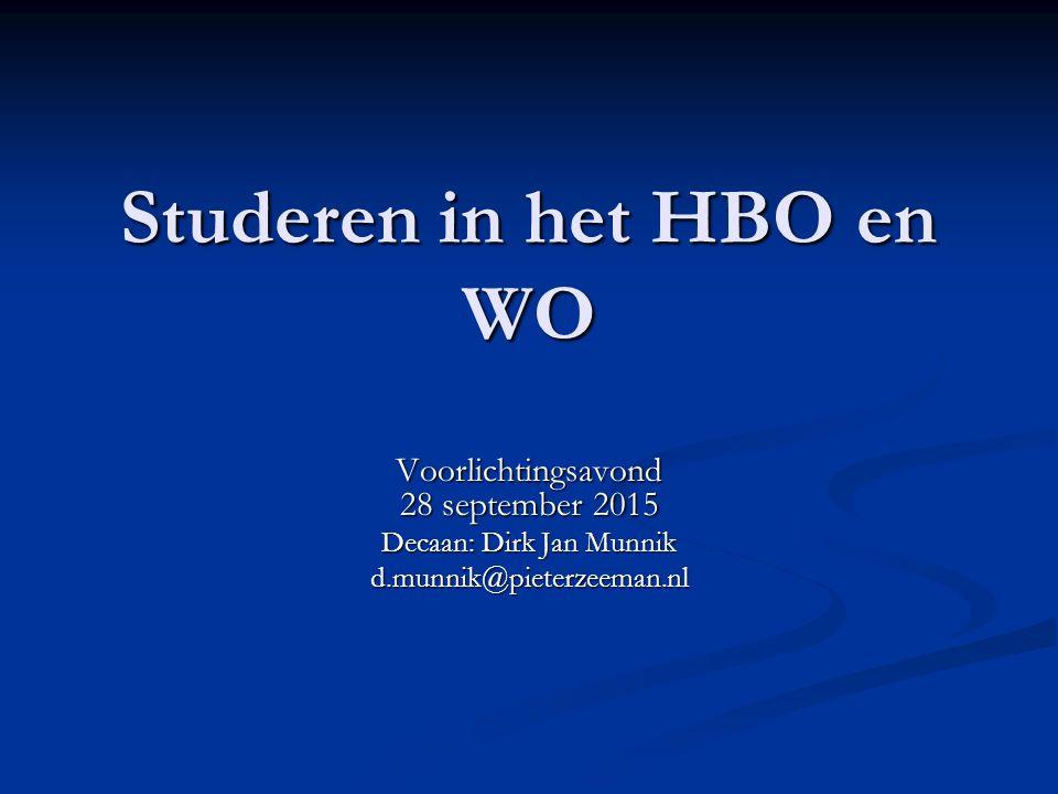 Studeren in het HBO en WO Voorlichtingsavond 28 september 2015 Decaan: Dirk Jan Munnik d.munnik@pieterzeeman.nl