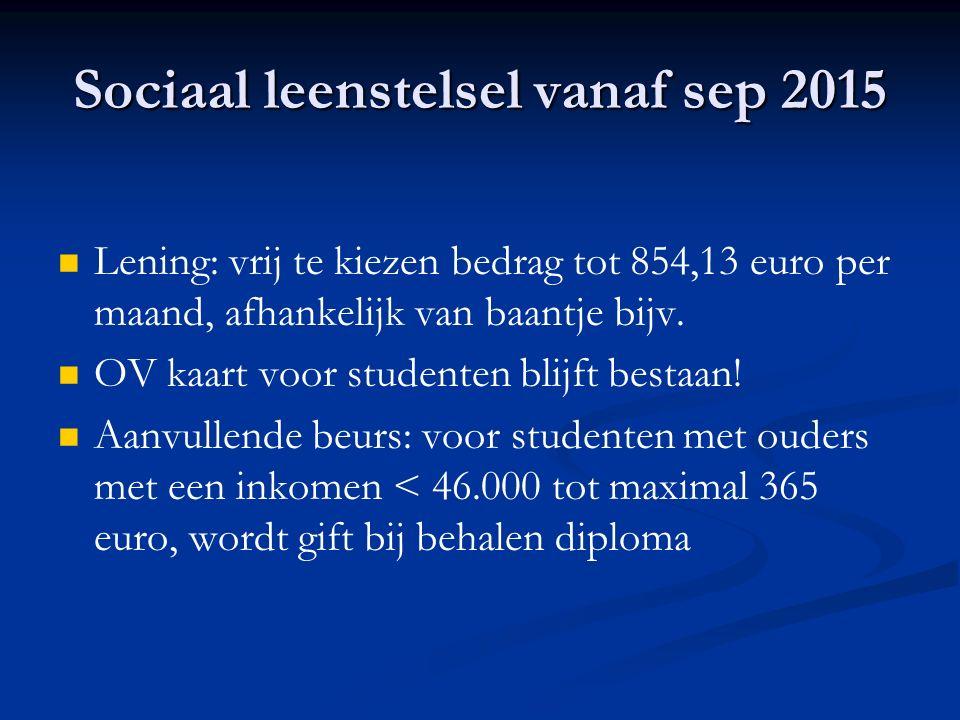 Sociaal leenstelsel vanaf sep 2015 Lening: vrij te kiezen bedrag tot 854,13 euro per maand, afhankelijk van baantje bijv.