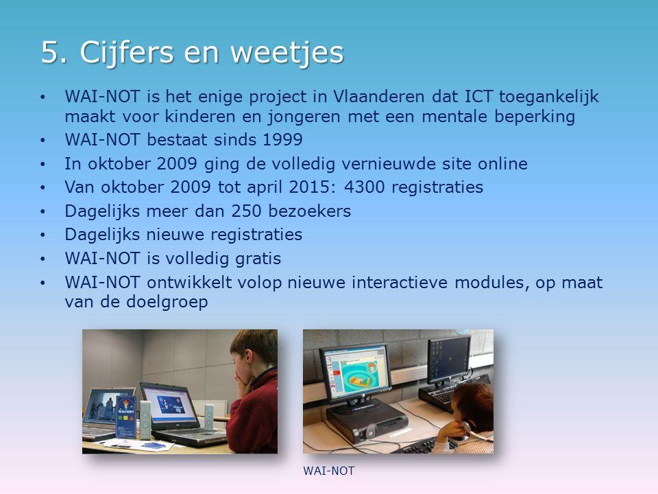 5. Cijfers en weetjes WAI-NOT is het enige project in Vlaanderen dat ICT toegankelijk maakt voor kinderen en jongeren met een mentale beperking WAI-NO