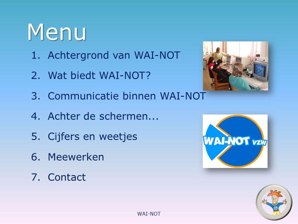 Menu 1.Achtergrond van WAI-NOT 2.Wat biedt WAI-NOT? 3.Communicatie binnen WAI-NOT 4.Achter de schermen... 5.Cijfers en weetjes 6.Meewerken 7.Contact W