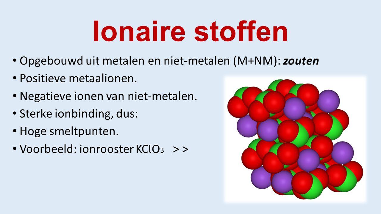 Ionaire stoffen Opgebouwd uit metalen en niet-metalen (M+NM): zouten Positieve metaalionen.
