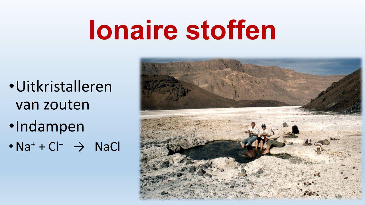 Ionaire stoffen Uitkristalleren van zouten Indampen Na + + Cl ‒ → NaCl