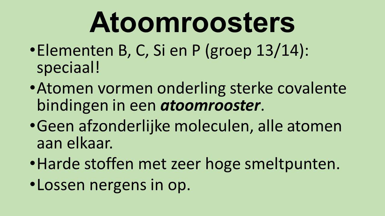 Atoomroosters Elementen B, C, Si en P (groep 13/14): speciaal.