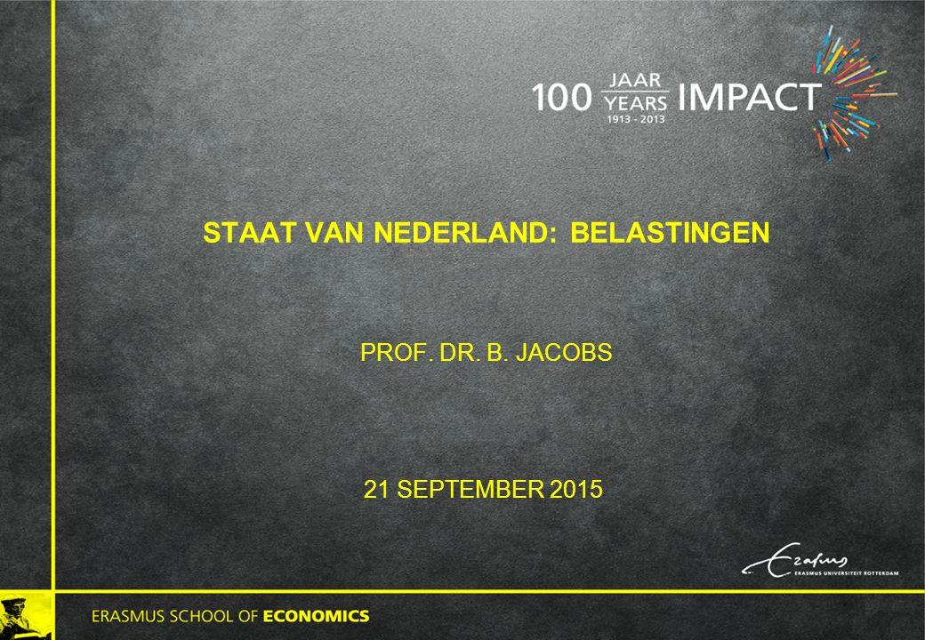 STAAT VAN NEDERLAND: BELASTINGEN PROF. DR. B. JACOBS 21 SEPTEMBER 2015