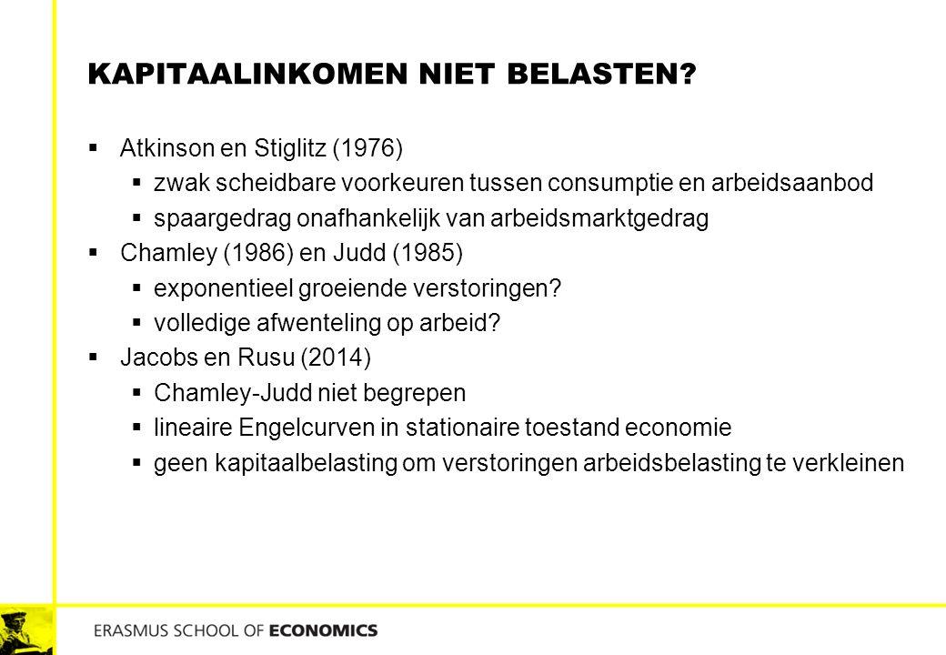 KAPITAALINKOMEN NIET BELASTEN?  Atkinson en Stiglitz (1976)  zwak scheidbare voorkeuren tussen consumptie en arbeidsaanbod  spaargedrag onafhankeli