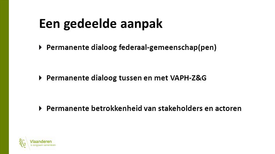 Een gedeelde aanpak Permanente dialoog federaal-gemeenschap(pen) Permanente dialoog tussen en met VAPH-Z&G Permanente betrokkenheid van stakeholders en actoren