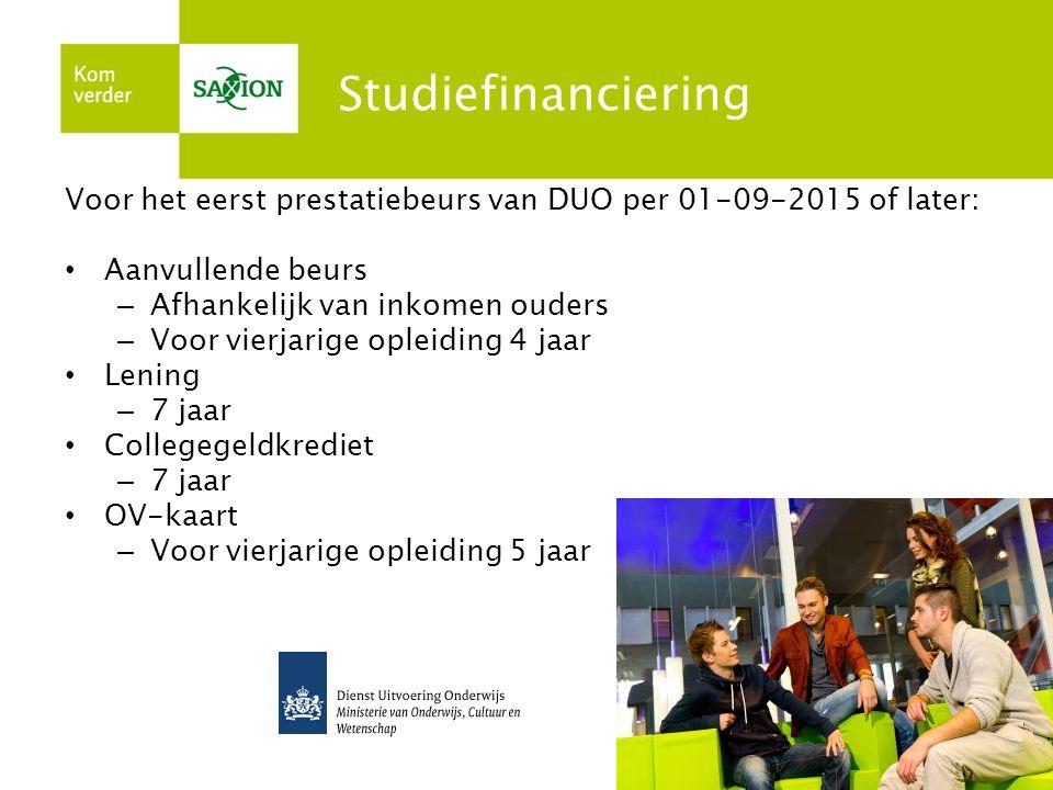 Studiefinanciering Voor het eerst prestatiebeurs van DUO per 01-09-2015 of later: Aanvullende beurs – Afhankelijk van inkomen ouders – Voor vierjarige