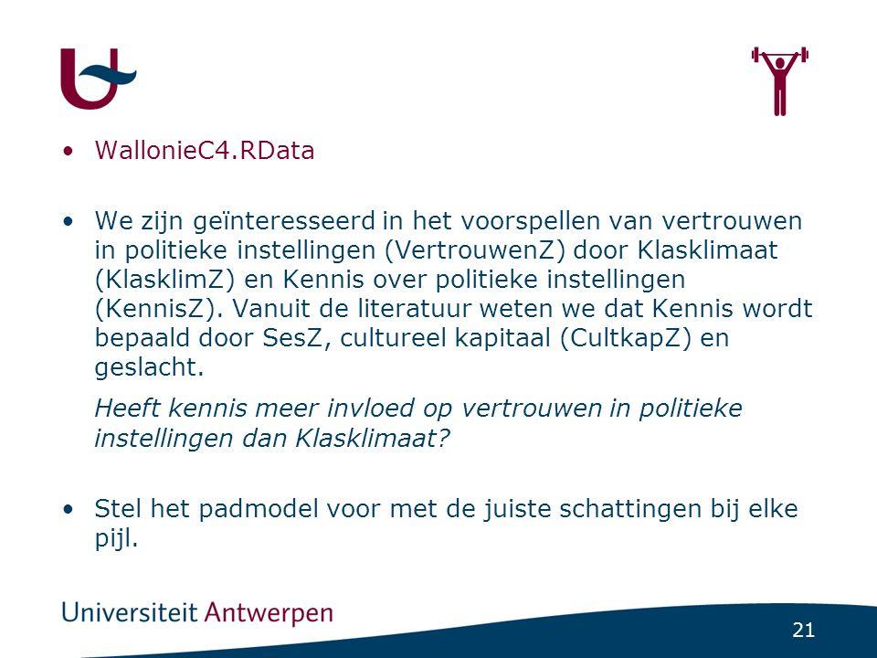 21  WallonieC4.RData We zijn geïnteresseerd in het voorspellen van vertrouwen in politieke instellingen (VertrouwenZ) door Klasklimaat (KlasklimZ) en