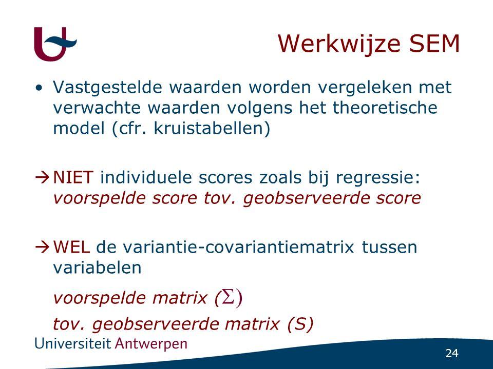 24 Werkwijze SEM Vastgestelde waarden worden vergeleken met verwachte waarden volgens het theoretische model (cfr. kruistabellen)  NIET individuele s