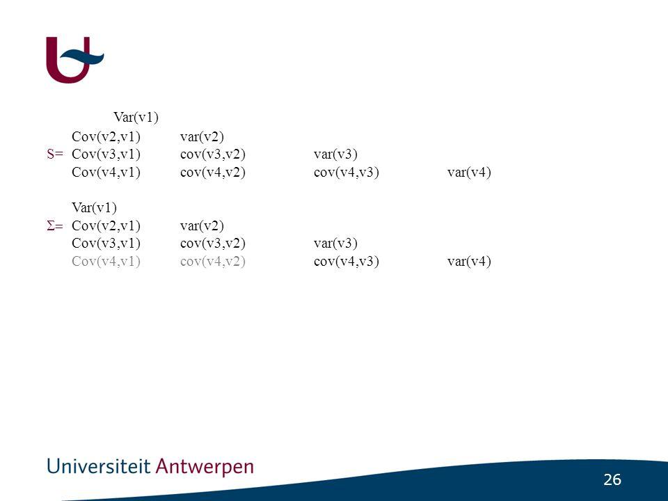 26 S= Var(v1) Cov(v2,v1)var(v2) S=Cov(v3,v1)cov(v3,v2)var(v3) Cov(v4,v1)cov(v4,v2)cov(v4,v3)var(v4) Var(v1)  Cov(v2,v1)var(v2) Cov(v3,v1)cov(v3,v2)