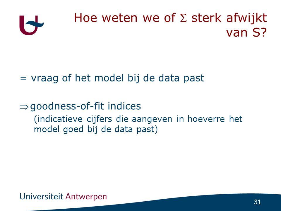 31 Hoe weten we of  sterk afwijkt van S? = vraag of het model bij de data past goodness-of-fit indices (indicatieve cijfers die aangeven in hoeverre