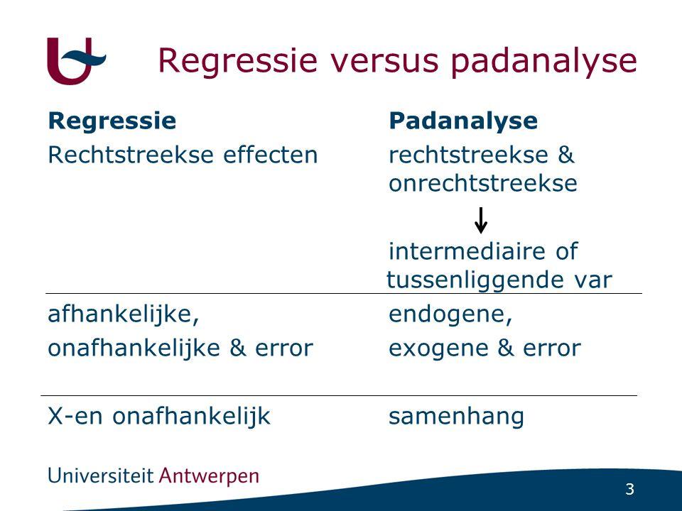 3 Regressie versus padanalyse RegressiePadanalyse Rechtstreekse effectenrechtstreekse & onrechtstreekse intermediaire of tussenliggende var afhankelij