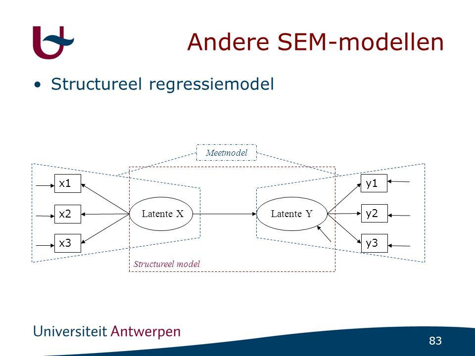 83 Andere SEM-modellen Structureel regressiemodel x1 x2 x3 Latente X y1 y2 y3 Latente Y Structureel model Meetmodel