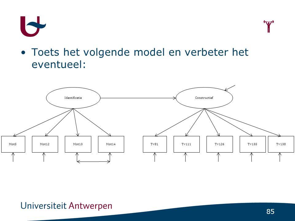 85  Toets het volgende model en verbeter het eventueel: IdentificatieConstructief Mot5Mot12Mot13Mot14Tv81Tv111Tv126Tv135Tv138