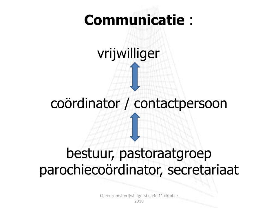Communicatie : vrijwilliger coördinator / contactpersoon bestuur, pastoraatgroep parochiecoördinator, secretariaat bijeenkomst vrijwilligersbeleid 11 oktober 2010