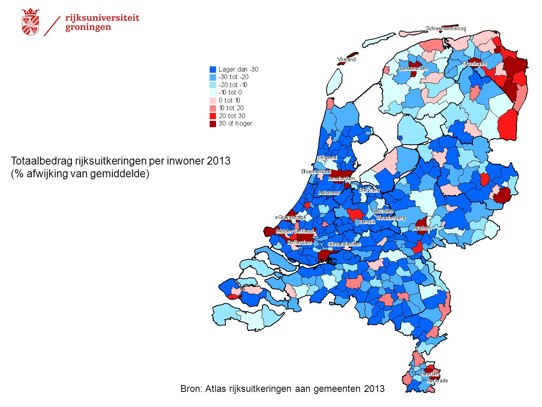 Totaalbedrag rijksuitkeringen per inwoner 2013 (% afwijking van gemiddelde) Bron: Atlas rijksuitkeringen aan gemeenten 2013