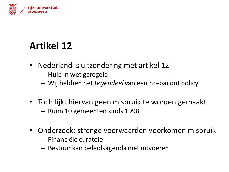 Artikel 12 Nederland is uitzondering met artikel 12 – Hulp in wet geregeld – Wij hebben het tegendeel van een no-bailout policy Toch lijkt hiervan gee