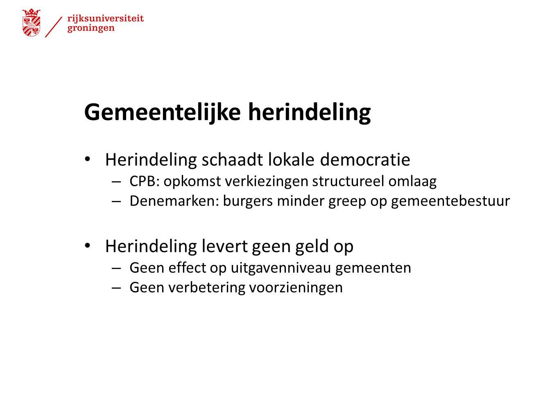 Gemeentelijke herindeling Herindeling schaadt lokale democratie – CPB: opkomst verkiezingen structureel omlaag – Denemarken: burgers minder greep op g