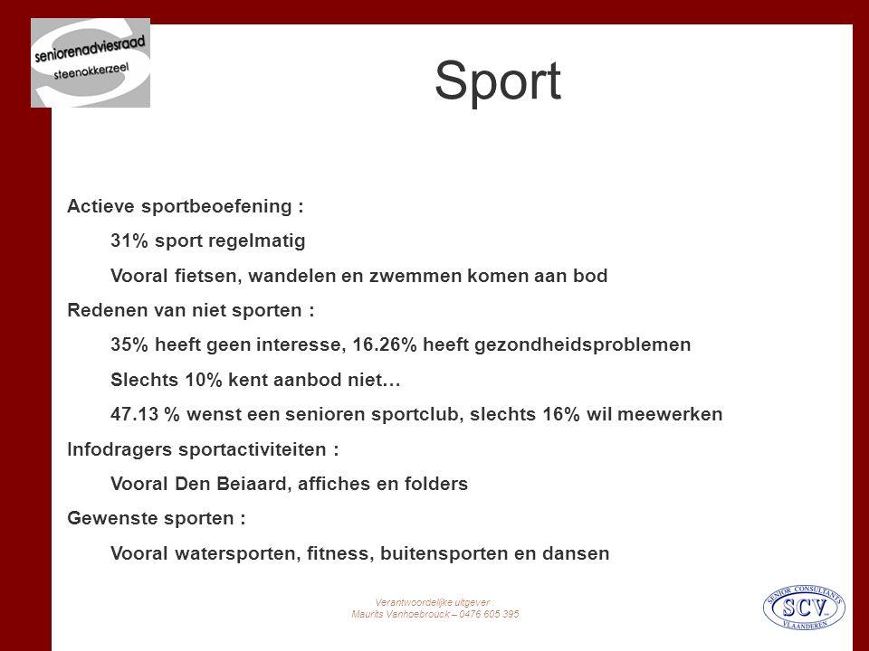 Verantwoordelijke uitgever : Maurits Vanhoebrouck – 0476 605 395 Sport Actieve sportbeoefening : 31% sport regelmatig Vooral fietsen, wandelen en zwemmen komen aan bod Redenen van niet sporten : 35% heeft geen interesse, 16.26% heeft gezondheidsproblemen Slechts 10% kent aanbod niet… 47.13 % wenst een senioren sportclub, slechts 16% wil meewerken Infodragers sportactiviteiten : Vooral Den Beiaard, affiches en folders Gewenste sporten : Vooral watersporten, fitness, buitensporten en dansen
