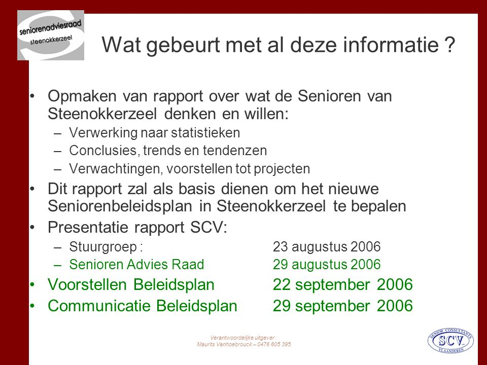 Verantwoordelijke uitgever : Maurits Vanhoebrouck – 0476 605 395 Wat gebeurt met al deze informatie .