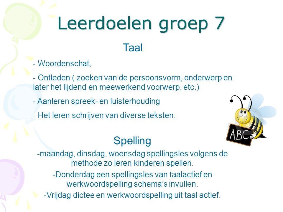 Leerdoelen groep 7 Taal - Woordenschat, - Ontleden ( zoeken van de persoonsvorm, onderwerp en later het lijdend en meewerkend voorwerp, etc.) - Aanler