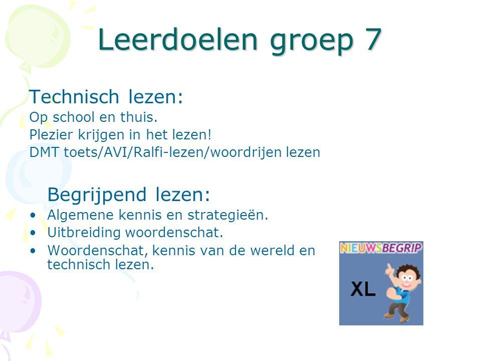 Leerdoelen groep 7 Technisch lezen: Op school en thuis. Plezier krijgen in het lezen! DMT toets/AVI/Ralfi-lezen/woordrijen lezen Begrijpend lezen: Alg