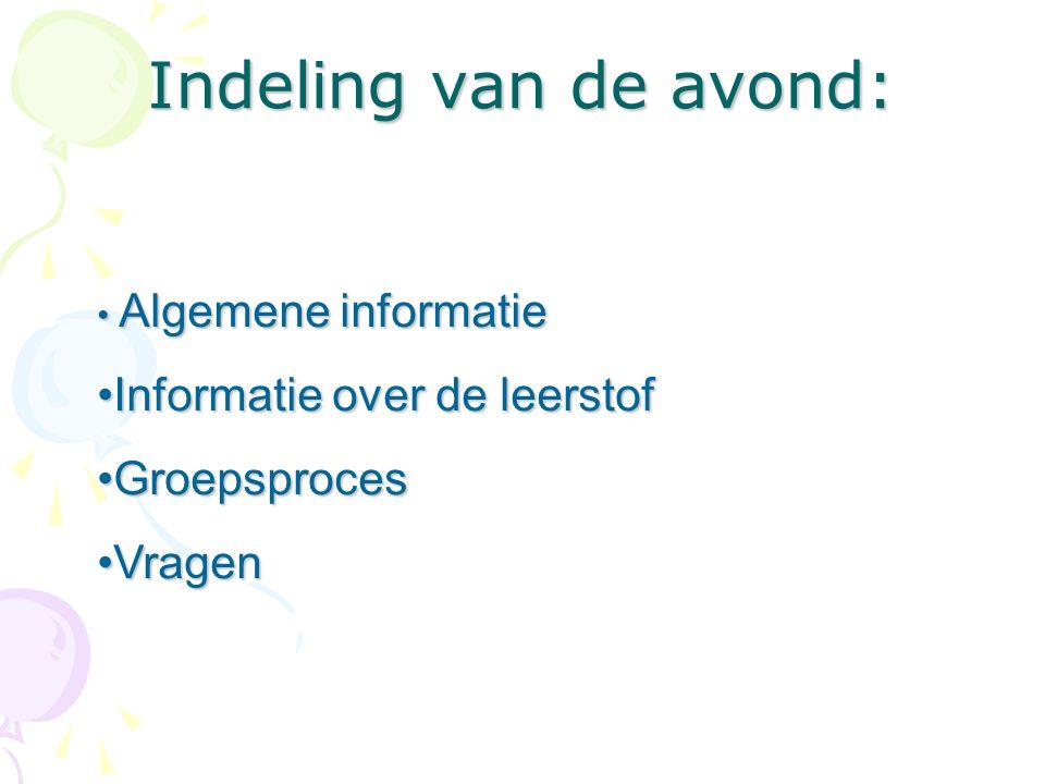 Indeling van de avond: Algemene informatie Algemene informatie Informatie over de leerstofInformatie over de leerstof GroepsprocesGroepsproces VragenV