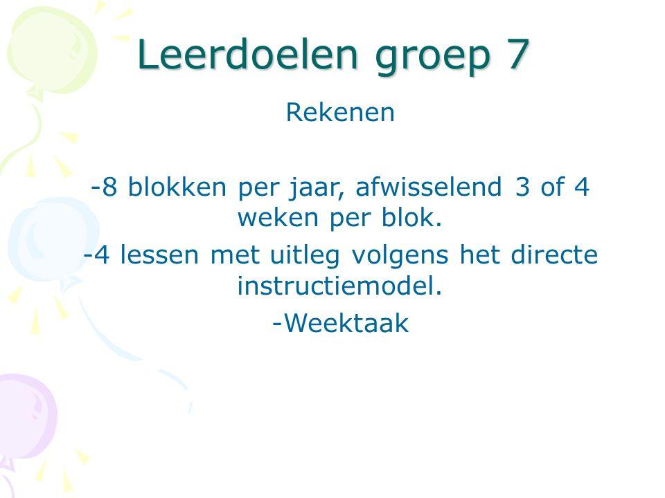 Leerdoelen groep 7 Rekenen -8 blokken per jaar, afwisselend 3 of 4 weken per blok. -4 lessen met uitleg volgens het directe instructiemodel. -Weektaak