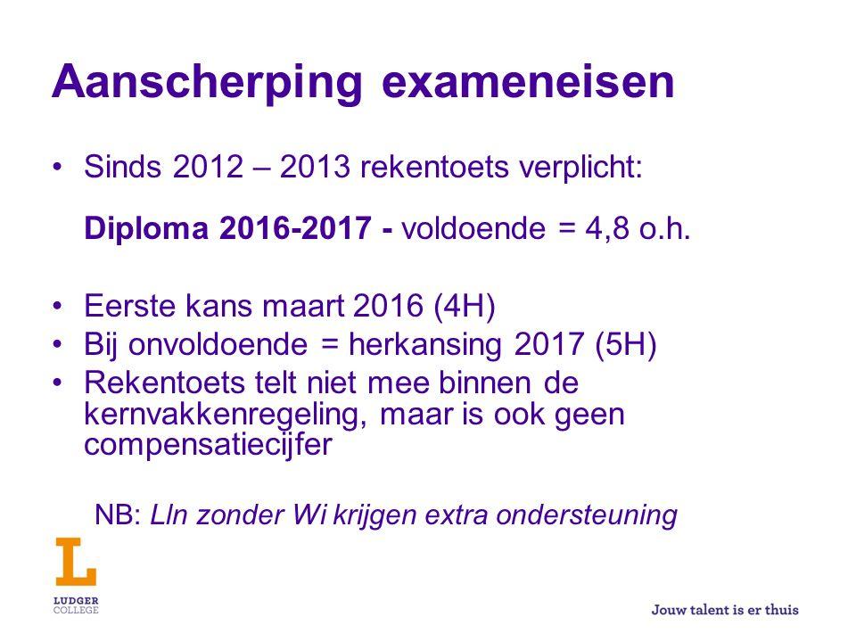 Aanscherping exameneisen Sinds 2012 – 2013 rekentoets verplicht: Diploma 2016-2017 - voldoende = 4,8 o.h. Eerste kans maart 2016 (4H) Bij onvoldoende
