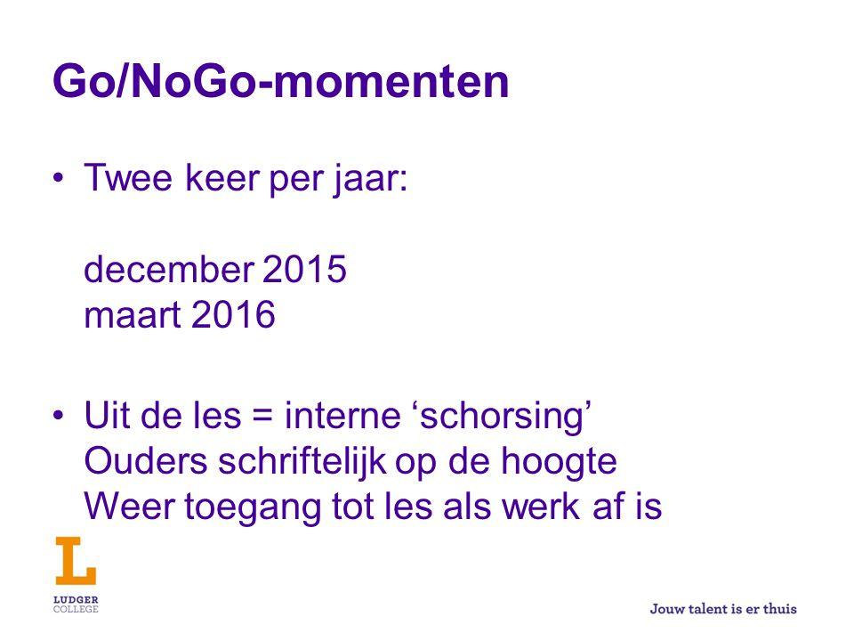 Go/NoGo-momenten Twee keer per jaar: december 2015 maart 2016 Uit de les = interne 'schorsing' Ouders schriftelijk op de hoogte Weer toegang tot les als werk af is