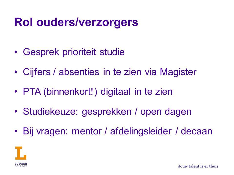 Rol ouders/verzorgers Gesprek prioriteit studie Cijfers / absenties in te zien via Magister PTA (binnenkort!) digitaal in te zien Studiekeuze: gesprek