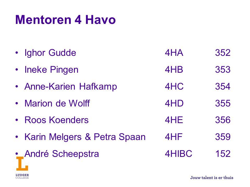 Mentoren 4 Havo Ighor Gudde4HA352 Ineke Pingen4HB353 Anne-Karien Hafkamp4HC354 Marion de Wolff4HD355 Roos Koenders4HE356 Karin Melgers & Petra Spaan4H