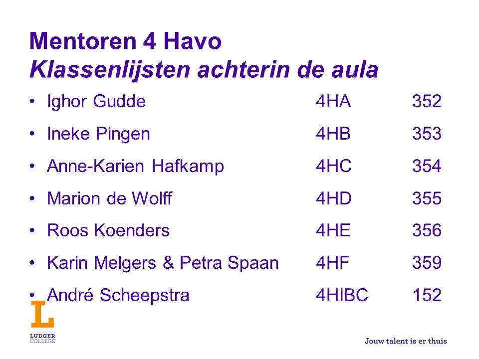 Mentoren 4 Havo Klassenlijsten achterin de aula Ighor Gudde4HA352 Ineke Pingen4HB353 Anne-Karien Hafkamp4HC354 Marion de Wolff4HD355 Roos Koenders4HE3