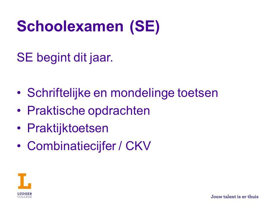 Schoolexamen (SE) SE begint dit jaar. Schriftelijke en mondelinge toetsen Praktische opdrachten Praktijktoetsen Combinatiecijfer / CKV