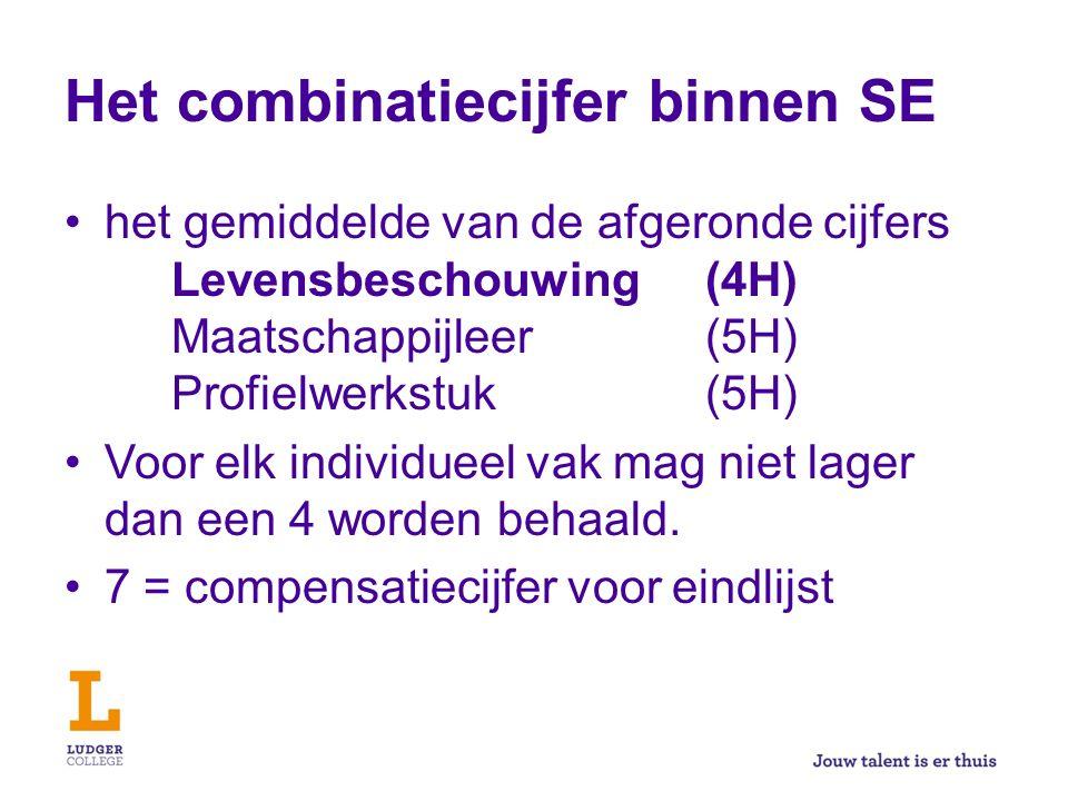 Het combinatiecijfer binnen SE het gemiddelde van de afgeronde cijfers Levensbeschouwing (4H) Maatschappijleer(5H) Profielwerkstuk(5H) Voor elk individueel vak mag niet lager dan een 4 worden behaald.