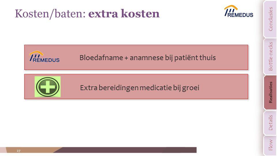 27 Kosten/baten: extra kosten Bloedafname + anamnese bij patiënt thuis Extra bereidingen medicatie bij groei Flow Details Realisaties Bottle-necks Con