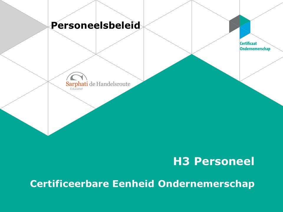 Personeelsbeleid H3 Personeel Certificeerbare Eenheid Ondernemerschap