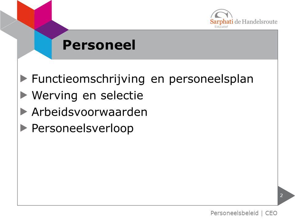 Functieomschrijving en personeelsplan Werving en selectie Arbeidsvoorwaarden Personeelsverloop 2 Personeel Personeelsbeleid | CEO