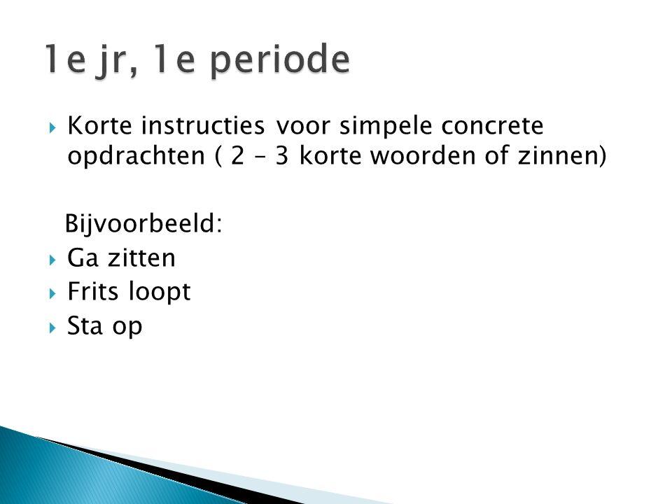  Korte instructies voor simpele concrete opdrachten ( 2 – 3 korte woorden of zinnen) Bijvoorbeeld:  Ga zitten  Frits loopt  Sta op