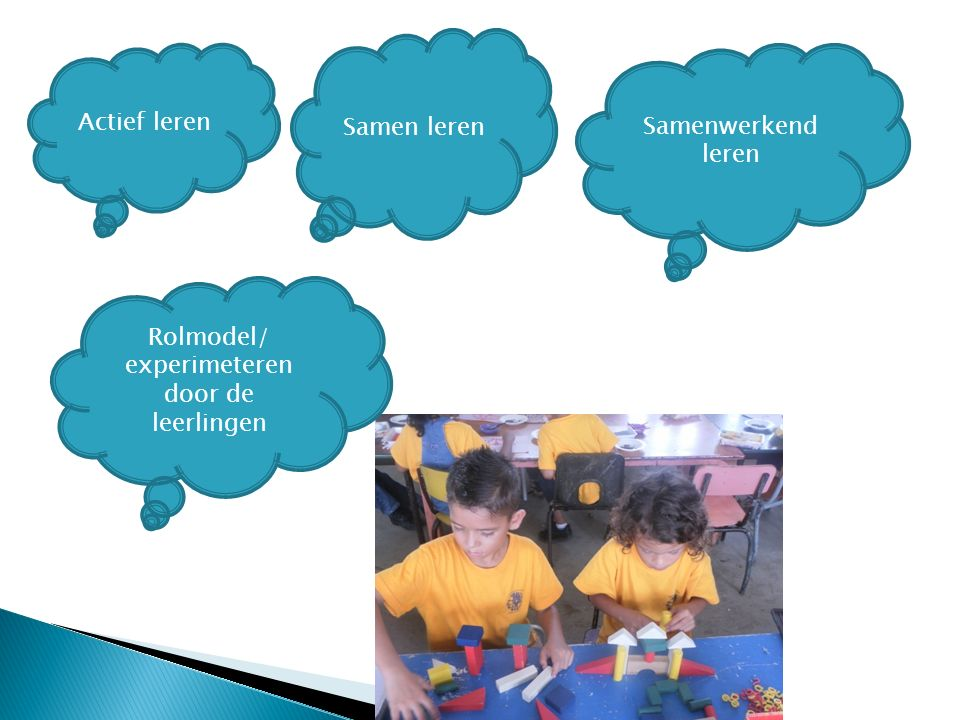 Actief leren Samen leren Samenwerkend leren Rolmodel/ experimeteren door de leerlingen