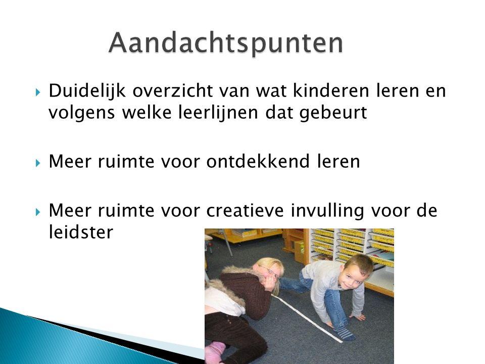  Duidelijk overzicht van wat kinderen leren en volgens welke leerlijnen dat gebeurt  Meer ruimte voor ontdekkend leren  Meer ruimte voor creatieve invulling voor de leidster