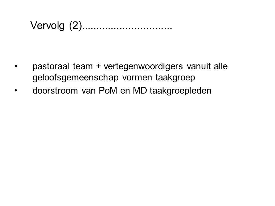 pastoraal team + vertegenwoordigers vanuit alle geloofsgemeenschap vormen taakgroep doorstroom van PoM en MD taakgroepleden Vervolg (2)...............................