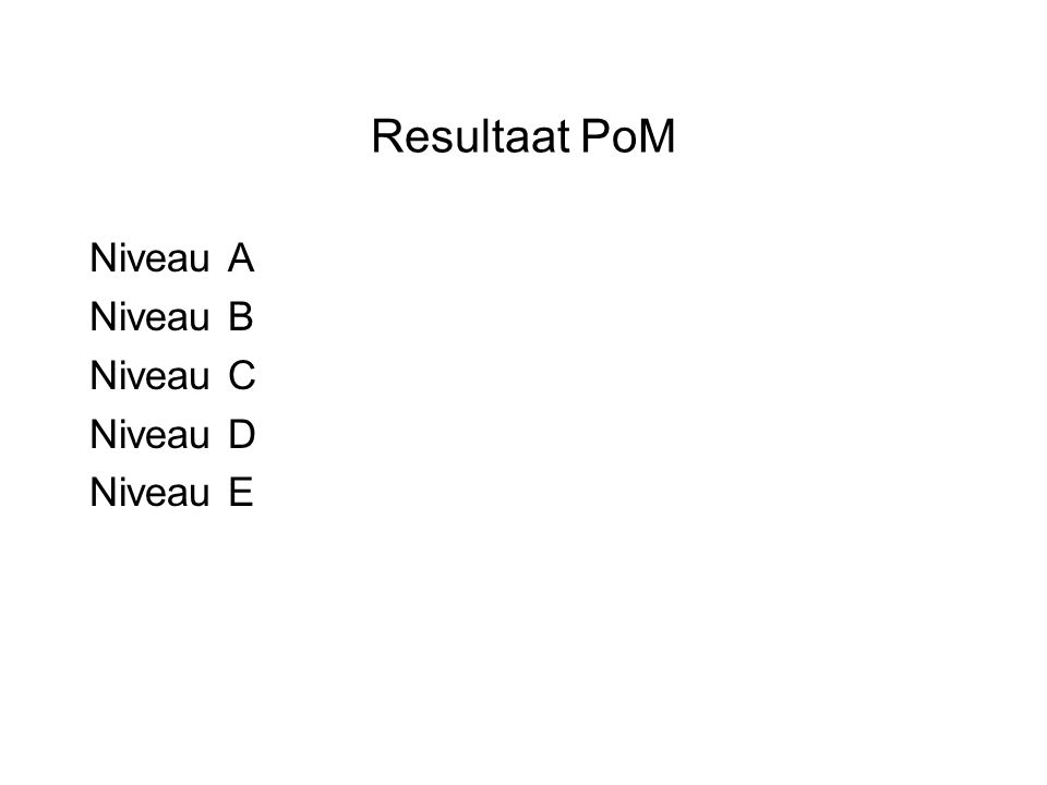 Resultaat PoM Niveau A Niveau B Niveau C Niveau D Niveau E