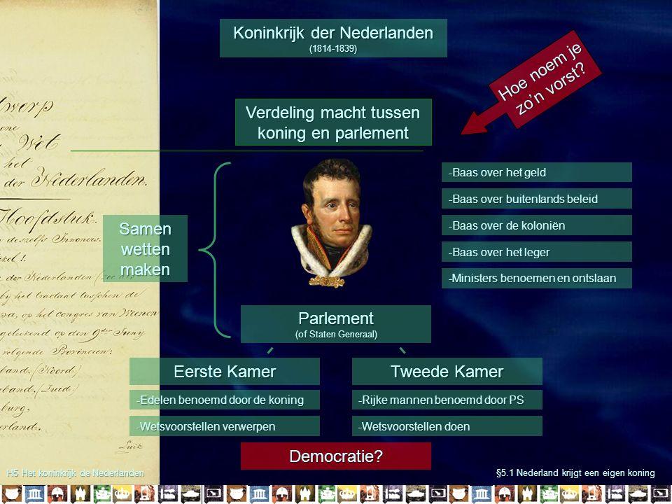-Wetsvoorstellen verwerpen H5 Het koninkrijk de Nederlanden §5.1 Nederland krijgt een eigen koning Parlement (of Staten Generaal) Koninkrijk der Neder