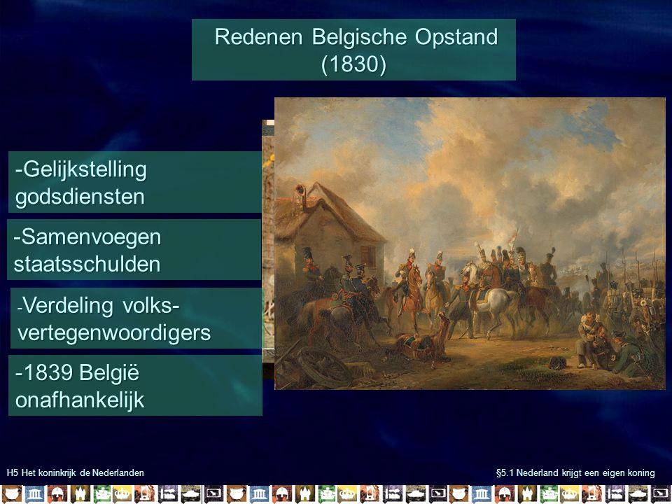 H5 Het koninkrijk de Nederlanden §5.1 Nederland krijgt een eigen koning Redenen Belgische Opstand (1830) Redenen Belgische Opstand (1830) - Verdeling